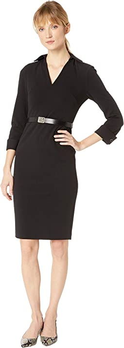 Collar Shirt Sheath Dress with Logo Belt CD8C12A9