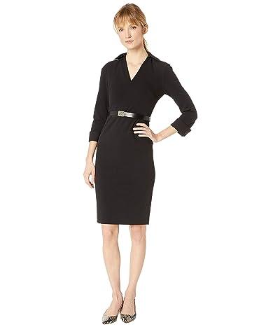 Calvin Klein Collar Shirt Sheath Dress with Logo Belt CD8C12A9 (Black) Women