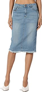 Butt Lift Wash Jean Pencil Knee Length Midi Stretch Soft Denim Skirt