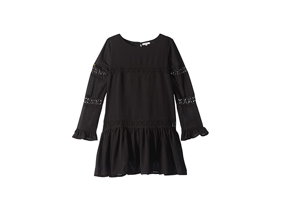 Ella Moss Girl Crinkle Chiffon Lace Dress (Big Kids) (Black) Girl