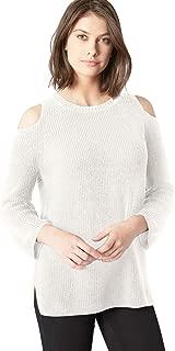 Women's Cotton Shaker Cold Shoulder Sweater
