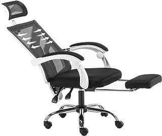 オフィスチェア ゲーミング チェア デスクチェア パソコンチェアー 足置き付 メッシュ ハイバック 155度リクライニング フットレスト オットマン付 全面メッシュ 静音キャスター 高さ昇降 肉厚クッション 通気性 日本語説明書付き ホワイト