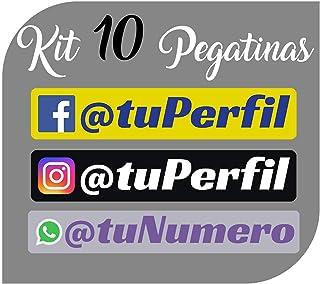 Kit x10 Pegatinas Vinilo con tu Perfil Social de Facebook, Instagram o WhatApp - Bici, Casco, Pala De Padel, Monopatin, Co...