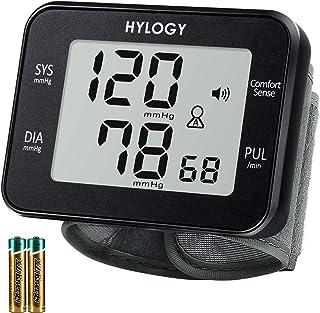 Tensiómetro de Muñeca, HYLOGY Monitor de Presión Digital Portátil Ultraplano con Anuncio de Voz, Gran Pantalla LCD con Memoria (2 * 90) Para 2 Usuarios, Detección de Pulso Irregular y De Movimiento