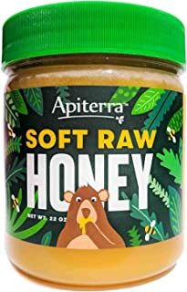 SOFT RAW HONEY, 22 Ounce, 100% Pure, Unfiltered, Unheated, Unpasteurized, Raw