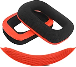 Geekria Earpads Replacement for Logitech G430 G930 Headphones + Replacement Headband/Cushion Pad Repair Parts (Red-Black)