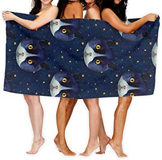 The Cat Blue Sky Stars Lovely Sport Towel - Travel Towels - 100% Microfiber - Gym - Beach - Surf - Camping - Backpacking- Ultra-Light - Fast Drying