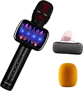 2019 UPDATED 4-IN-1 Bluetooth Karaoke Microphone, Speaker, Player, Recorder, Voice Changer, Wireless Karaoke Mic Machine with Dynamic LED Light Carrying Case for Home/Stage/Party