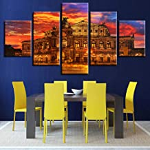 WFUBY Decorative paintings Pictures Living Room Wall Art 5 Pieces Architecture Painting Sunset Poster Modularwork Canvas HD Prints Home Decor-40x60x2 40x80x2 40x100cm