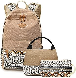 School Backpack Meal Pack Student Bag Children's School Bag Set Youth Shoulder Bag and Lunch Handbag Pencil Case, School Bag 3 Sets (Color : Khaki)