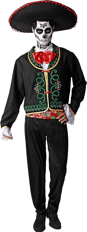 Gojoy shop- Disfraz de Calavera Mejicana del Día de los Muertos para Hombres Halloween Carnaval (Contiene Chaqueta con Camisa, Pajarita, Pantalón y Faja, Talla Unica)