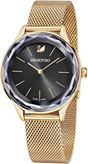 SWAROVSKI Crystal Authentic Octea Nova Watch, Milanese Strap, Black, Rose Gold Tone - High Class Stone Studded Swiss Made Timepiece Jewelry and Everyday Accessory for Women