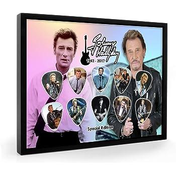SH Gold Discs Johnny Hallyday Que Je taime Disque dor et Affichage encadr/é de Guitare Miniature