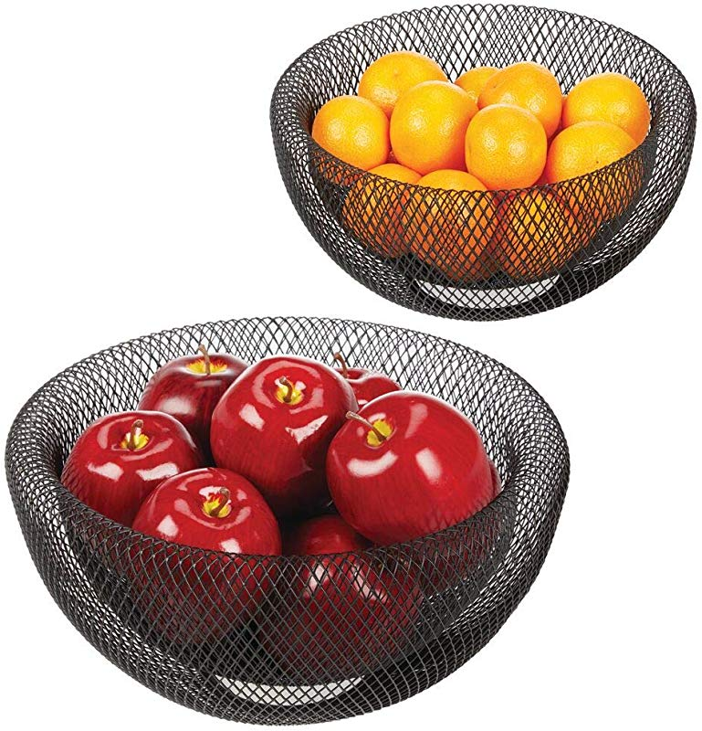 MDesign Double Wall Metal Mesh Decorative Fruit Bowl Basket Stand Modern Wire Design For Kitchen Countertop Storage Table Centerpieces Container And Holder For Fruits Vegetables Set Of 2 Black