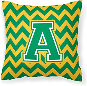 Caroline's Treasures CJ1059-APW1414 Letter A Chevron Green and Gold Fabric Decorative Pillow, 14Hx14W, Multicolor