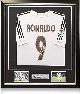 Ronaldo de Lima Signed 2004-05 Real Madrid Home Soccer Jersey. Framed