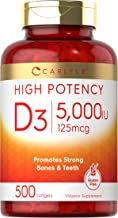 Vitamin D3 5000 IU | 500 Softgels | Value Size | Non-GMO and Gluten Free Supplement | 125mcg | by Carlyle