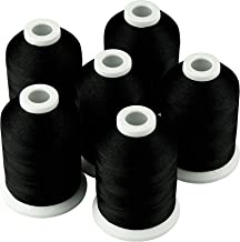 Simthread 6 Black 1000M(1100Y) Polyester Machine Embroidery Threads for Brother Babylock Janome Singer Pfaff Husqvarna Ber...
