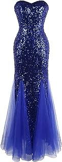 Women's Sleeveless Blue Sequins Tulle Evening Dress