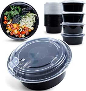 Whale Family, 45 Sets 32 oz. Round Meal Prep Containers Reusable with Vented Lids [Patent Protected Design] Plastic Disposable Food Storage Containers Meal Prep Bowls-BPA-Free-Microwave Safe-Black