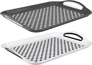Juego de 2 bandejas de plástico Invero, con superficie de goma, base antideslizante y asas de fácil agarre, ideal para cualquier hogar