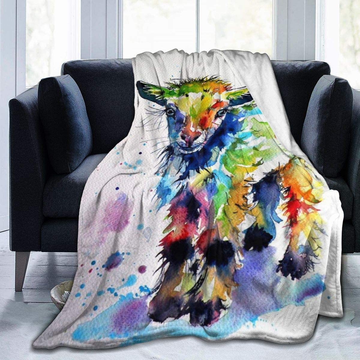 Carwayii Goat Throw Blanket, Cute Baby Lamb Colorful Sherpa Blanket Comfy Bed Blanket for Family Festival Gift