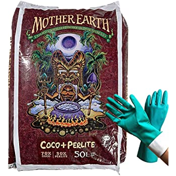 Mother Earth Pro Mixed Coco Coir Plus Perlite Potting Soil Compaction Resisted Cocoa Growing Medium High Aeration and Drainage Coco Coir Blend Soil, [Bundled with Garden Gloves], 50 Liters