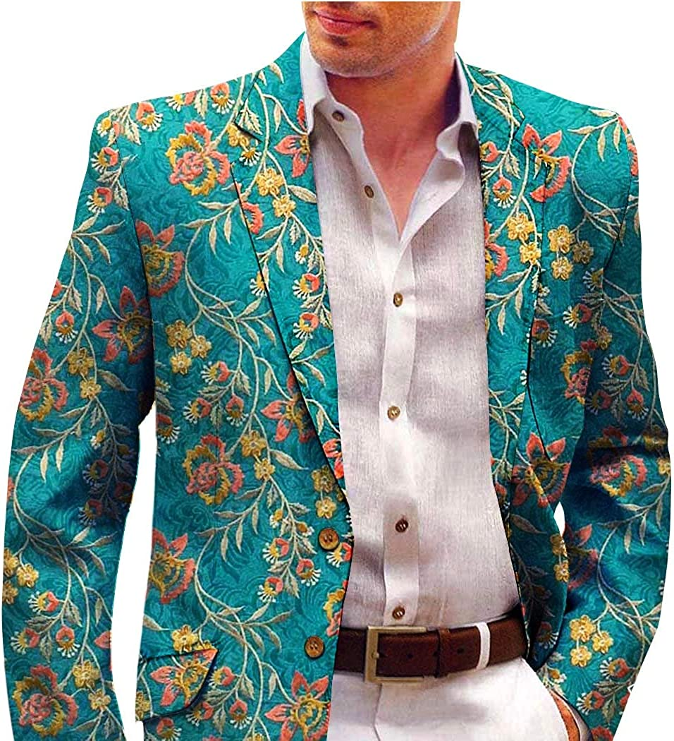 INMONARCH Teal Mens Blazer with Embroidered Floral Motifs SBM1024