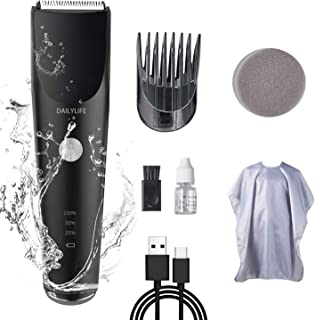 DAILYLIFE Cordless Electric Hair Clippers,Rechargeable Hair Grooming Kit with Adjustable Comb, IPX7 Waterproof Whole Body Washable, Type-c USB Charging Low-noise Household Hair Trimmer