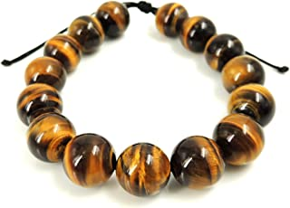 Natural Grade AA Brown Tiger Eye Gemstone Bracelet 14mm Non-Treated Large Beads Minimal Jewelry for Casual Daily Wear Meditation Yoga Handmade Braided Drawstrings Easily Adjustable for Multiple Sizes