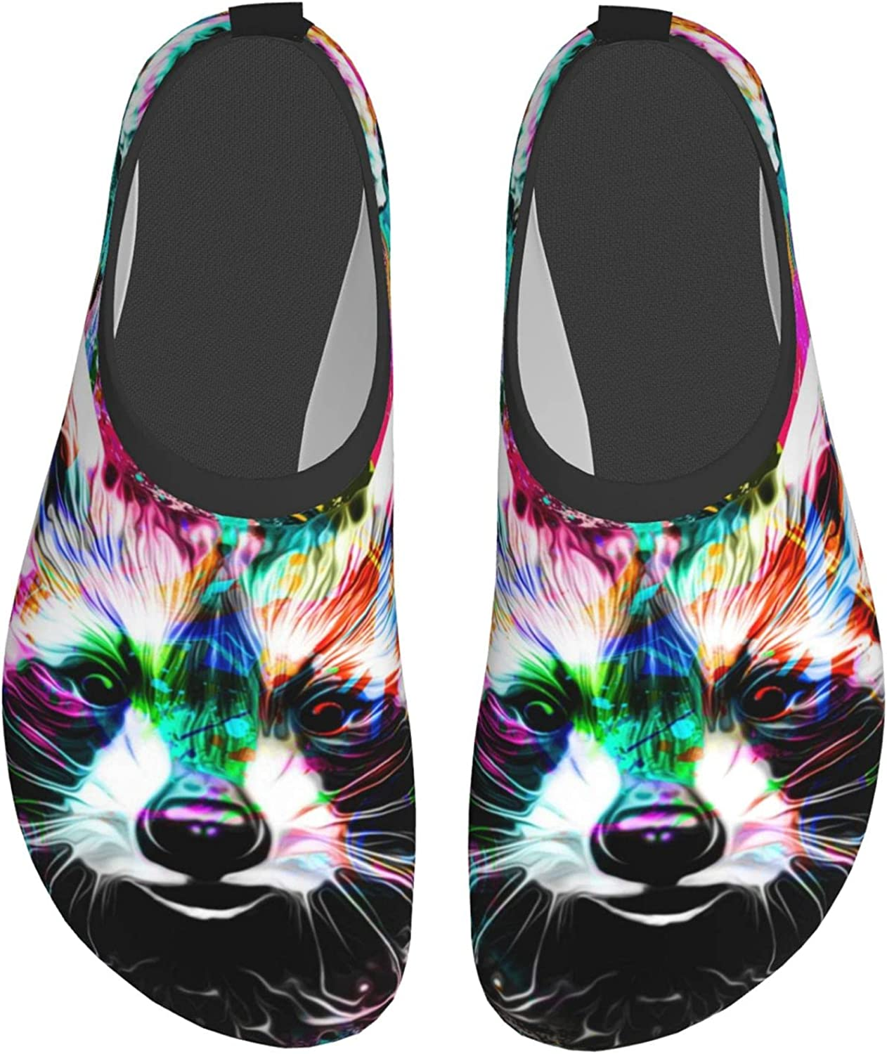 Color Raccoon Water Shoes for Womens Mens Summer Barefoot Shoes Novelty Quick Dry Aqua Socks for Beach Swim Surf