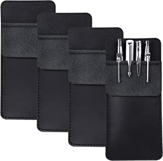 4 Packs Leather Pocket Handmade Protector Pen Holder Pouch for Lab Coats/Shirts/Pen Note, Pencil Pocket Holder for School ...