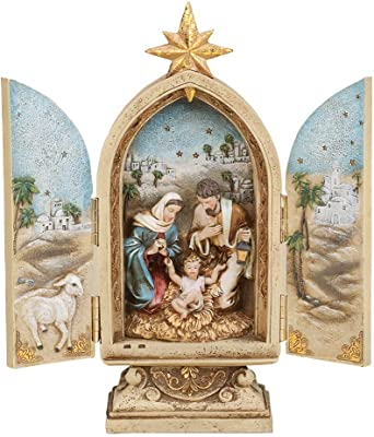 "Joseph's Studio by Roman - Nativity Triptych, Holy Family with Star, Renaissance Collection, 10"" H, Resin and Stone, Openwork Doors, Gold, Decorative Figure"