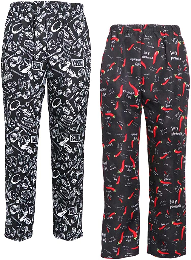 dailymall 2 Pieces Unisex Chef Fashionable Cooking Max 75% OFF Work Pants Trousers