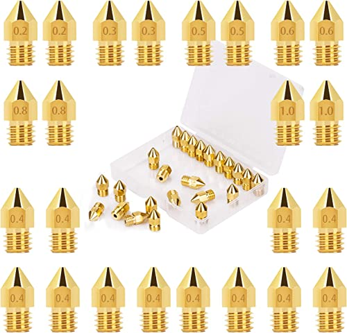 LUTER 24PCS Extruder Nozzles 3D Printer Nozzles for MK8 0.2mm, 0.3mm, 0.4mm, 0.5mm, 0.6mm, 0.8mm, 1.0mm with Free Sto...