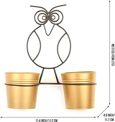 Homspurts The Owl Buckets Metal Wall Planters Pot for Indoor Plants with Holder (Set of 2, Galvanized Iron) - Wall Mounted Planters with Stand Plant Containers,Balcony Decoration