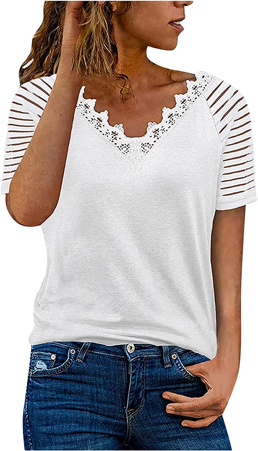 Women's Solid V-neck Fort Worth Mall Max 43% OFF loose solid Short Sleeve Top color