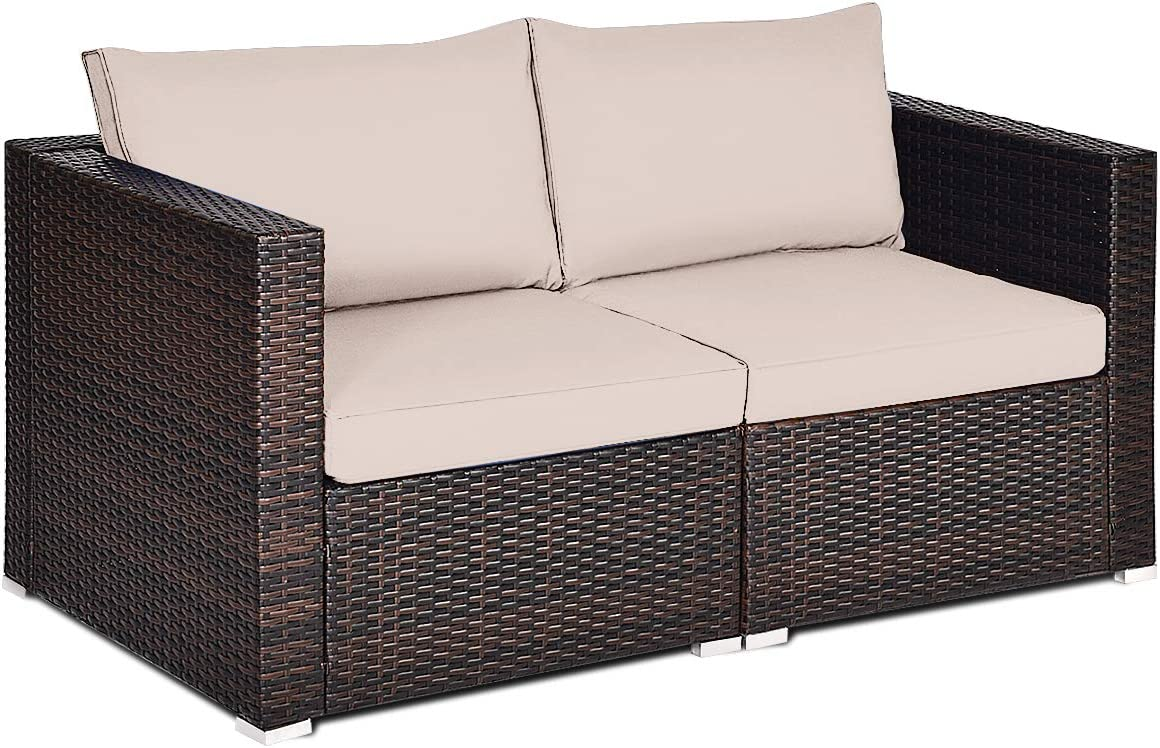 Tangkula Wicker Loveseat 2 Piece, Patio Furniture Couch with Removable Cushions, Rattan Loveseat Sofa for Balcony, Deck, Garden and Poolside