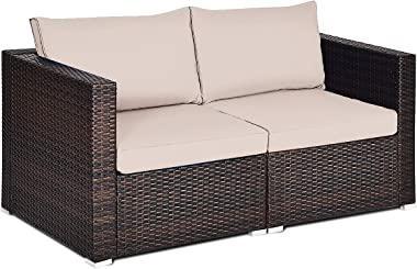 Tangkula Wicker Loveseat 2 Piece, Patio Furniture Couch with Removable Cushions, Rattan Loveseat Sofa for Balcony, Deck, Gard