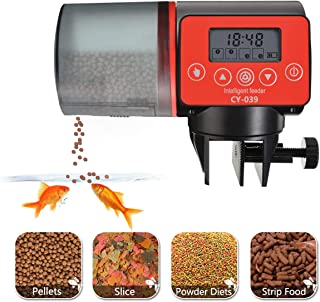 PDTO Automatic Fish Feeder,Electric Timer Fish Feeders for Aquariums and Turtle Tanks Auto Vacation Fish Food Dispenser