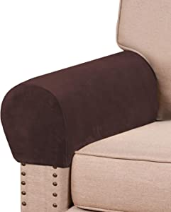 Real Velvet Armrest Covers for Chairs and Sofas Couch Arm Covers for Sofa Thickened Velvet Armrest Covers Anti-Slip Furniture Protector Washable Armchair Slipcovers for Recliner Set of 2, Brown