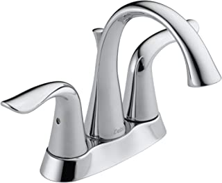 Delta Faucet Lahara Centerset Bathroom Faucet Chrome, Bathroom Sink Faucet, Diamond Seal Technology, Metal Drain Assembly,...