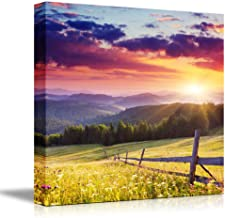 Canvas Prints Wall Art - Majestic Sunset in The Mountains Landscape, Beautiful Mountain Scenery   Modern Wall Decor/Home Decor Stretched Gallery Canvas Wraps Giclee Print & Ready to Hang - 24