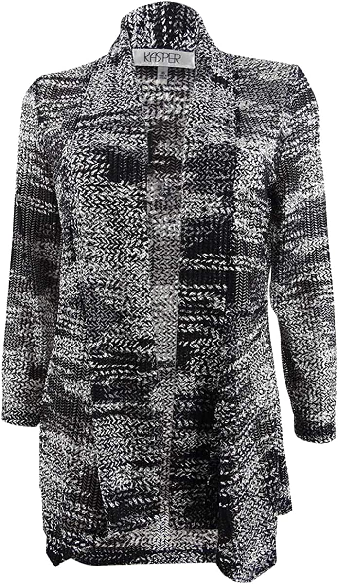Kasper Women's Draped-Front Printed Knit Cardigan Jacket (XS, Grey Multi)