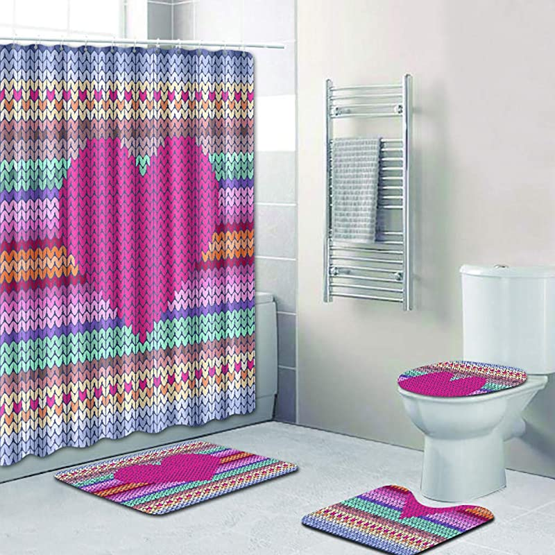 CertainPL Loving Heart Shower Curtain Liner Waterproof Fabric Shower Curtains Non Slip Bath Rug Mat Set Of 4 D