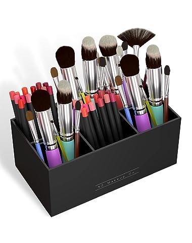 N2 Makeup Co Makeup Brush Holder Organizer - Multiple Slot Acrylic Cosmetics Brushes Storage