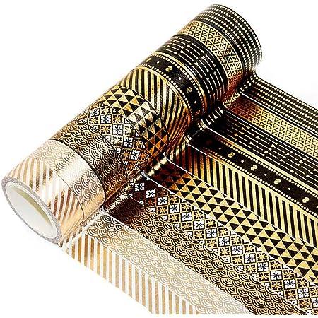 YUBX 10 Rouleaux Washi Tape Ruban Adhésif Papier Décoratif Or noir Masking Tape pour Scrapbooking Artisanat de Bricolage (Black Gold 10)
