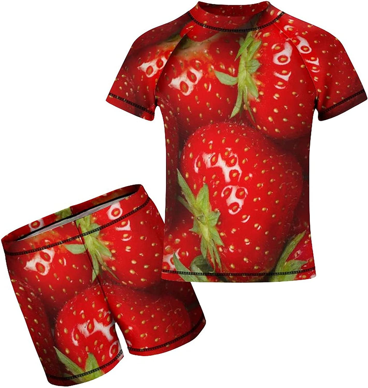 Yiaoflying Kids Boys 2 Piece Swimwear Set - Strawberries Rash Guard Swimsuit Trunks