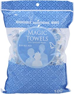 Mini Compressed Towel,100 Pack Portable Disposable Compressed Cotton Coin Tissue Towel with Individual Package for Travel, Camping, Hiking, Sport, Beauty Salon, Home Hand Wipes