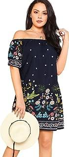 Women's Plus Size Loose Off Shoulder Floral Boho Summer Beach Dress